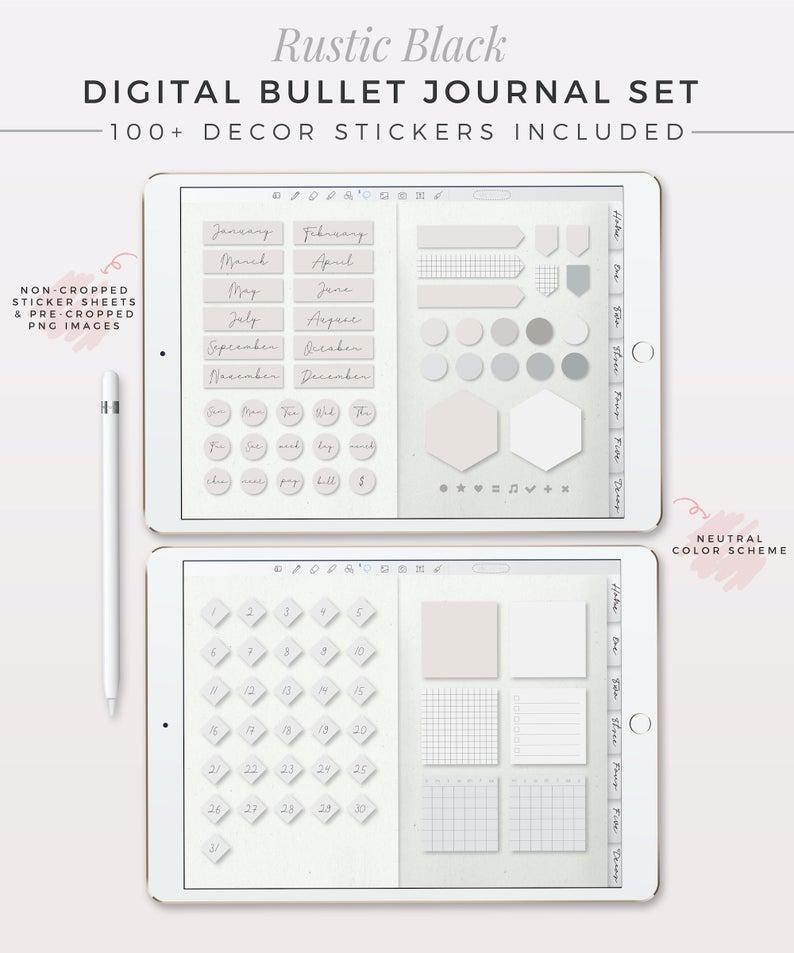 RUSTIC BLACK Digital Bullet Journal Kit  Digital Planner | Etsy