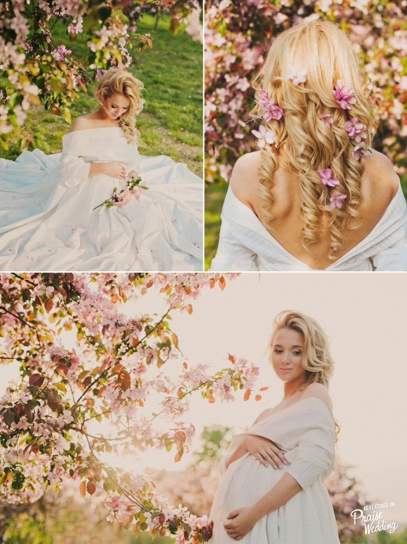 This cherry blossom inspired maternity session is utterly romantic! Such a gorgeous mama-to-be!