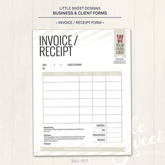 Photography Studio / Invoice Receipt Form - Photoshop Template For