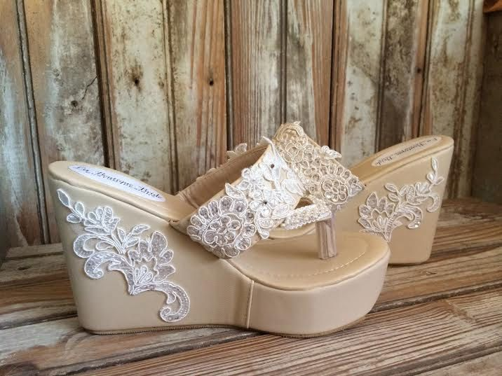 76482d4d2 Destination Beach Bride Wedge Ivory Beaded Lace Flip Flop Bride Ivory Wedge  Flip Flop Wedding Wedge by LaBoutiqueBride on Etsy