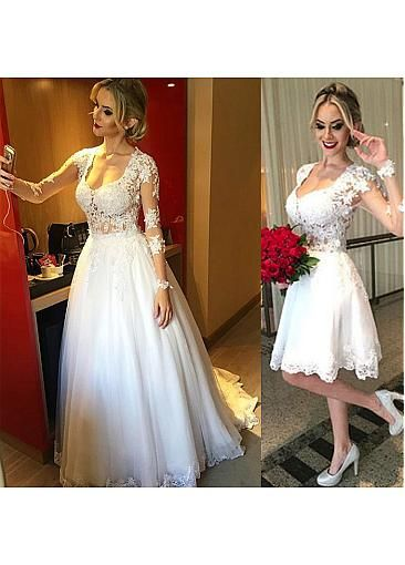 Gorgeous Tulle Scoop Neckline 2 in 1 Wedding Dresses With Lace ...