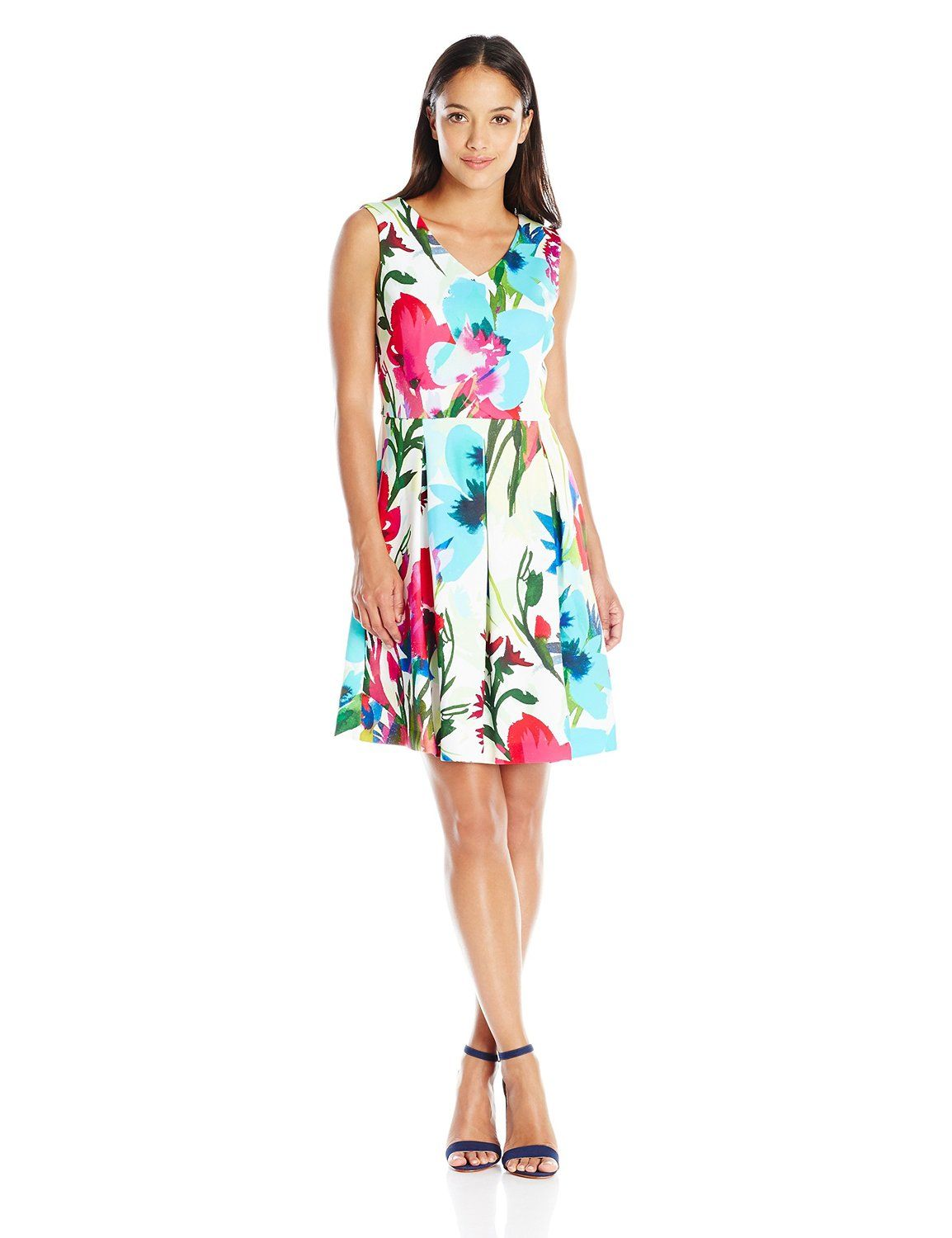 Amazon.com: Ellen Tracy Women's Petite Sleeveless V Neck Fit And Flare Printed Dress: Clothing