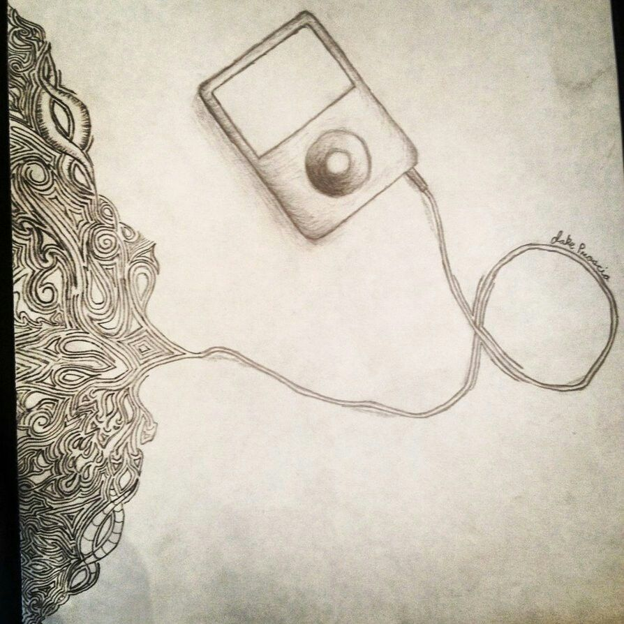 Ipod headphones music inspiration abstract drawing for Easy art drawing ideas