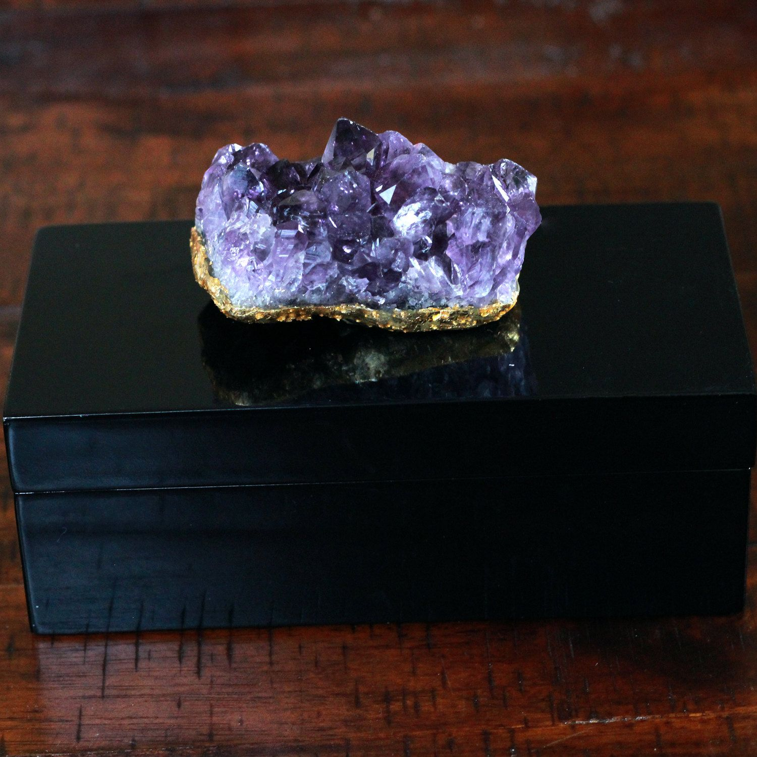 Geode Decor amethyst box / lacquer box / trinket box / jewelry box / crystal