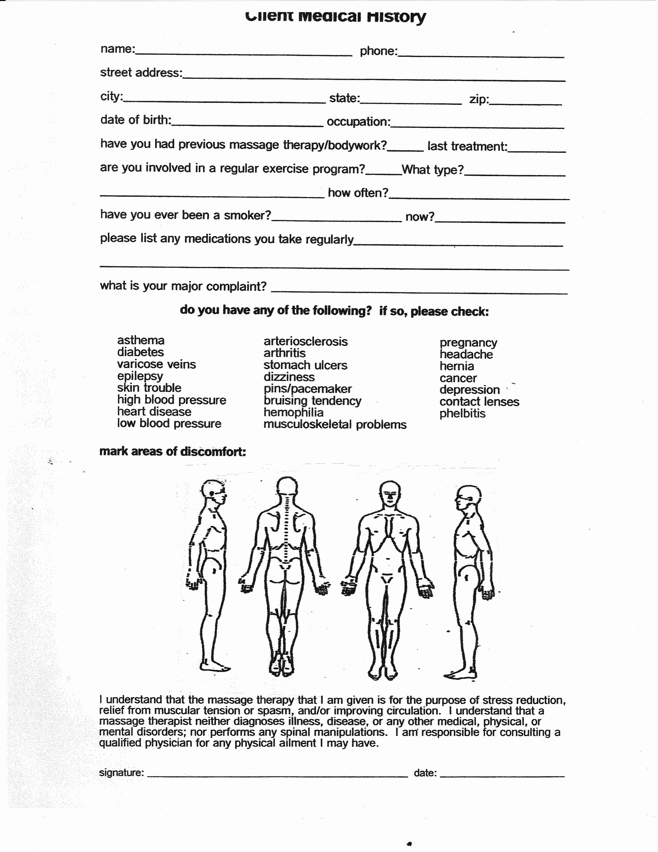 Medical Intake Forms Template New Medical Form Intake Form Massage Intake Forms Physical Therapy Massage Therapy