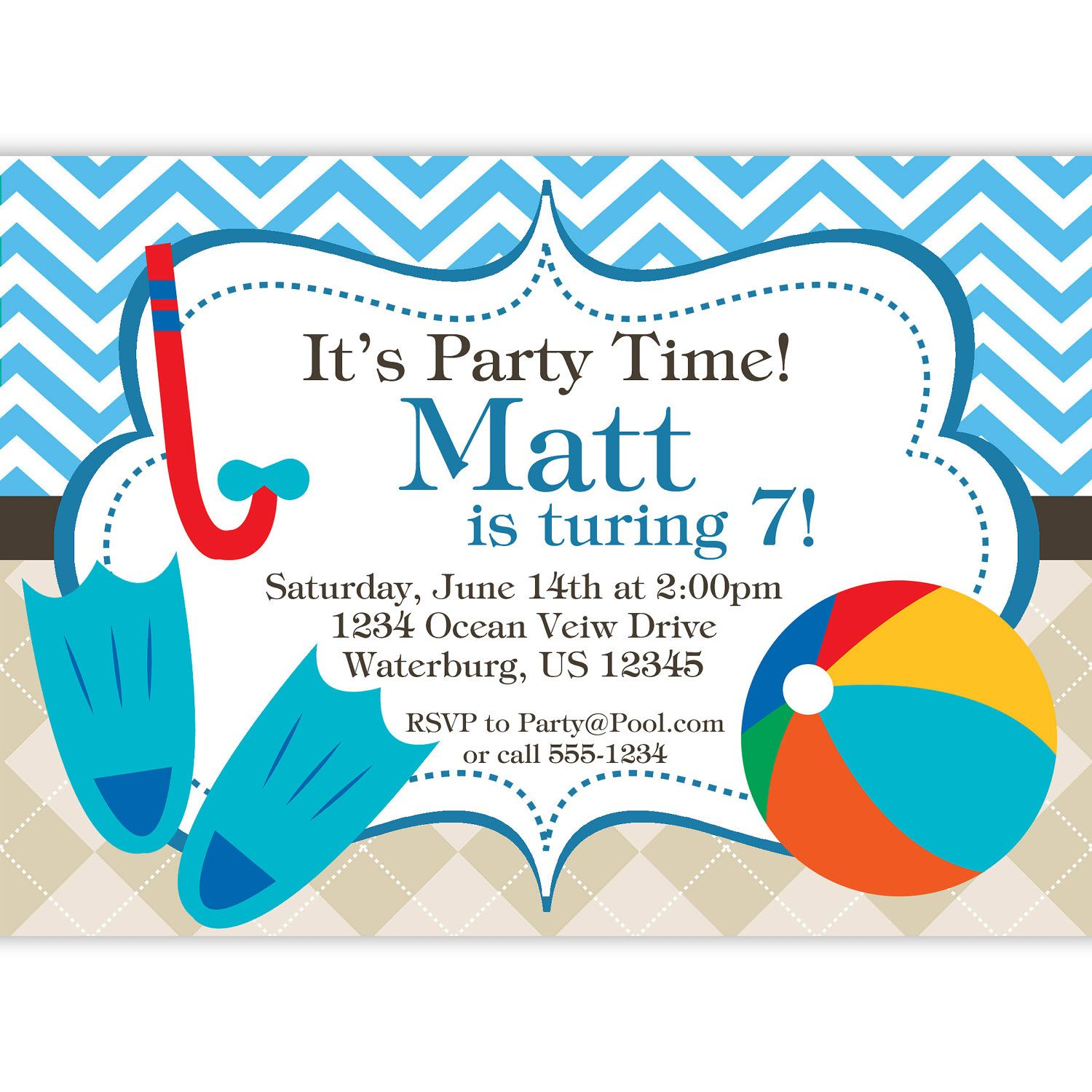 pool party invitation blue chevron and tan argyle beach ball and flippers personalized. Black Bedroom Furniture Sets. Home Design Ideas