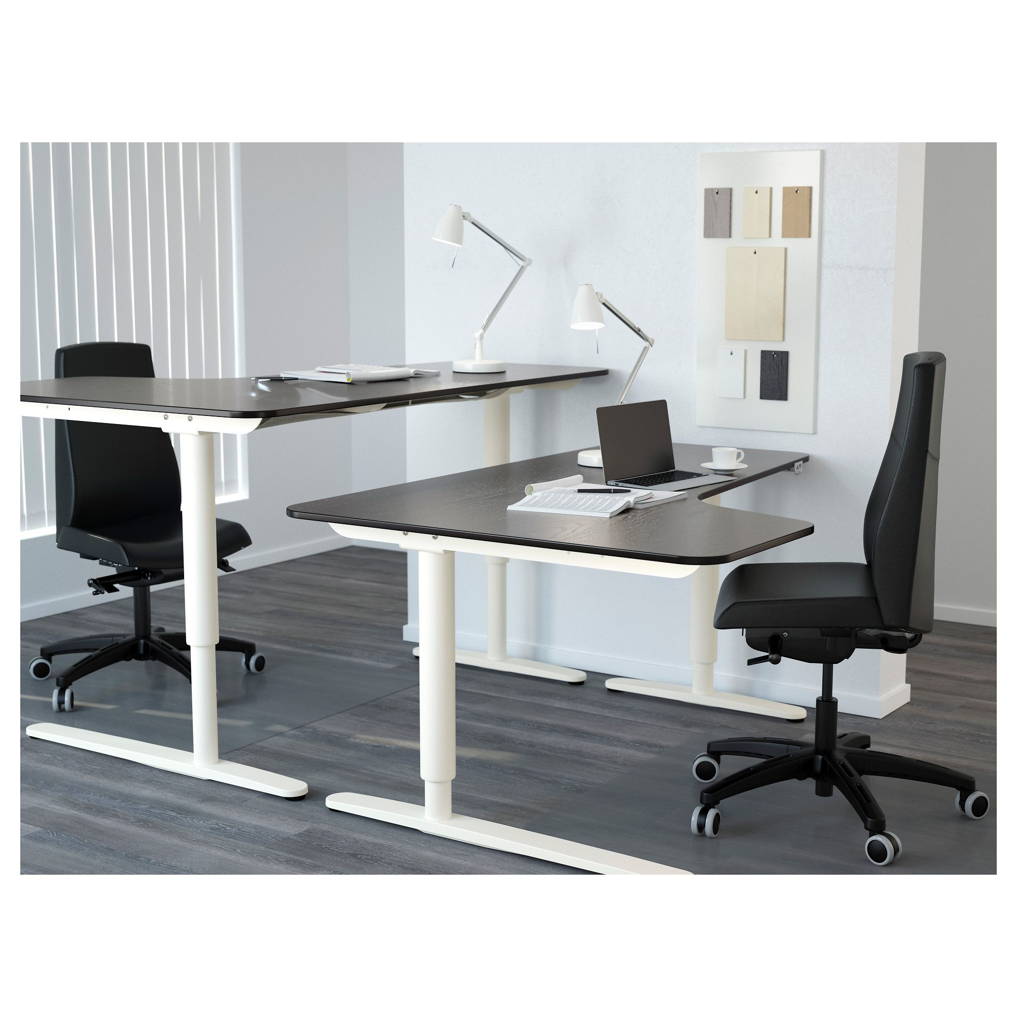Ikea  Bekant Corner Desk Left Sitstand Black Brown, White