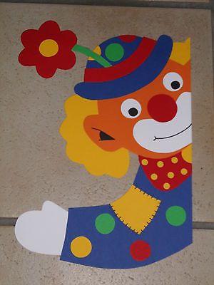 Fensterbild Tonkarton Karneval Fasching Fenstergucker Clown Blume
