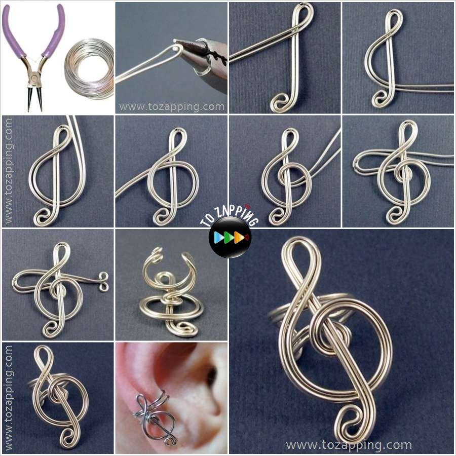 Pendiente de nota de msica con alambre tozapping wire how to make a music earring baditri Choice Image