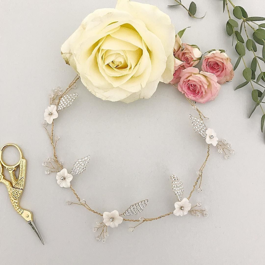 The Blossom hair vine- gold plated wire mother of pearl flowers ...