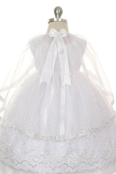 rain kids white silver embroidered angel baptism dress