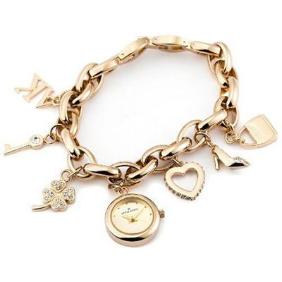 Las Gifts With Photos Online Only Anne Klein Gold Tone Charm Bracelet Watch Model 10