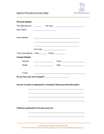 Babysitter Application Form BABYSITTER APPLICATION FORM Personal ...