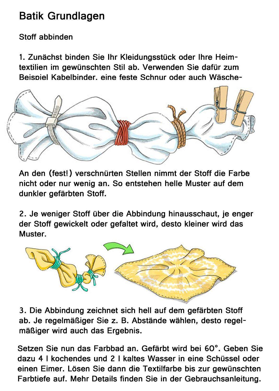 Batik Anleitung, Batiken Anleitung, Batikfarben | Batik | Pinterest ...