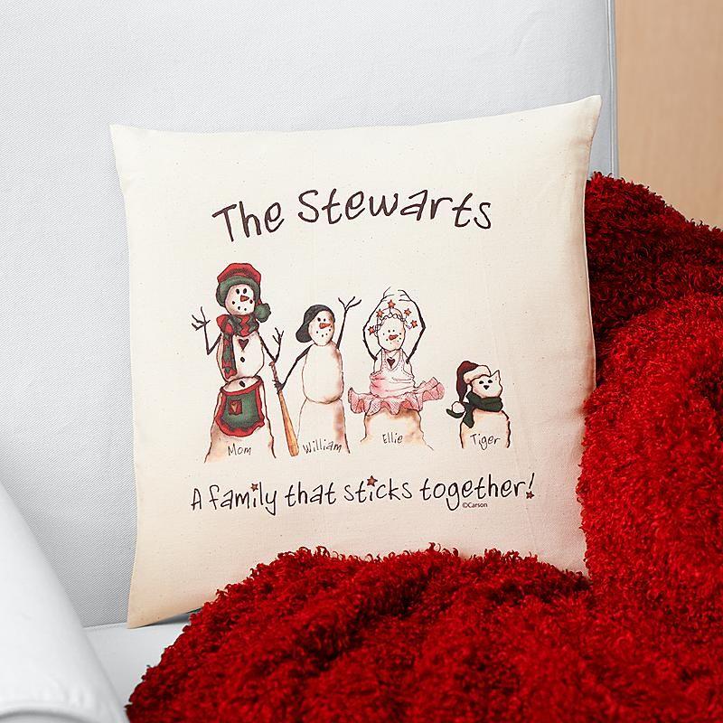 SnowmanStickFamilyThrow Pillow