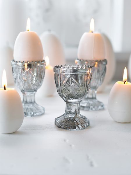 Vintage egg cup candle holders