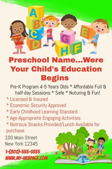 Customizable Design Templates For Child Care Postermywall Preschool Names Early Childhood Learning Preschool