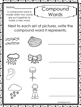 10 Compound Words Worksheets. K-1st Grade Literacy ...