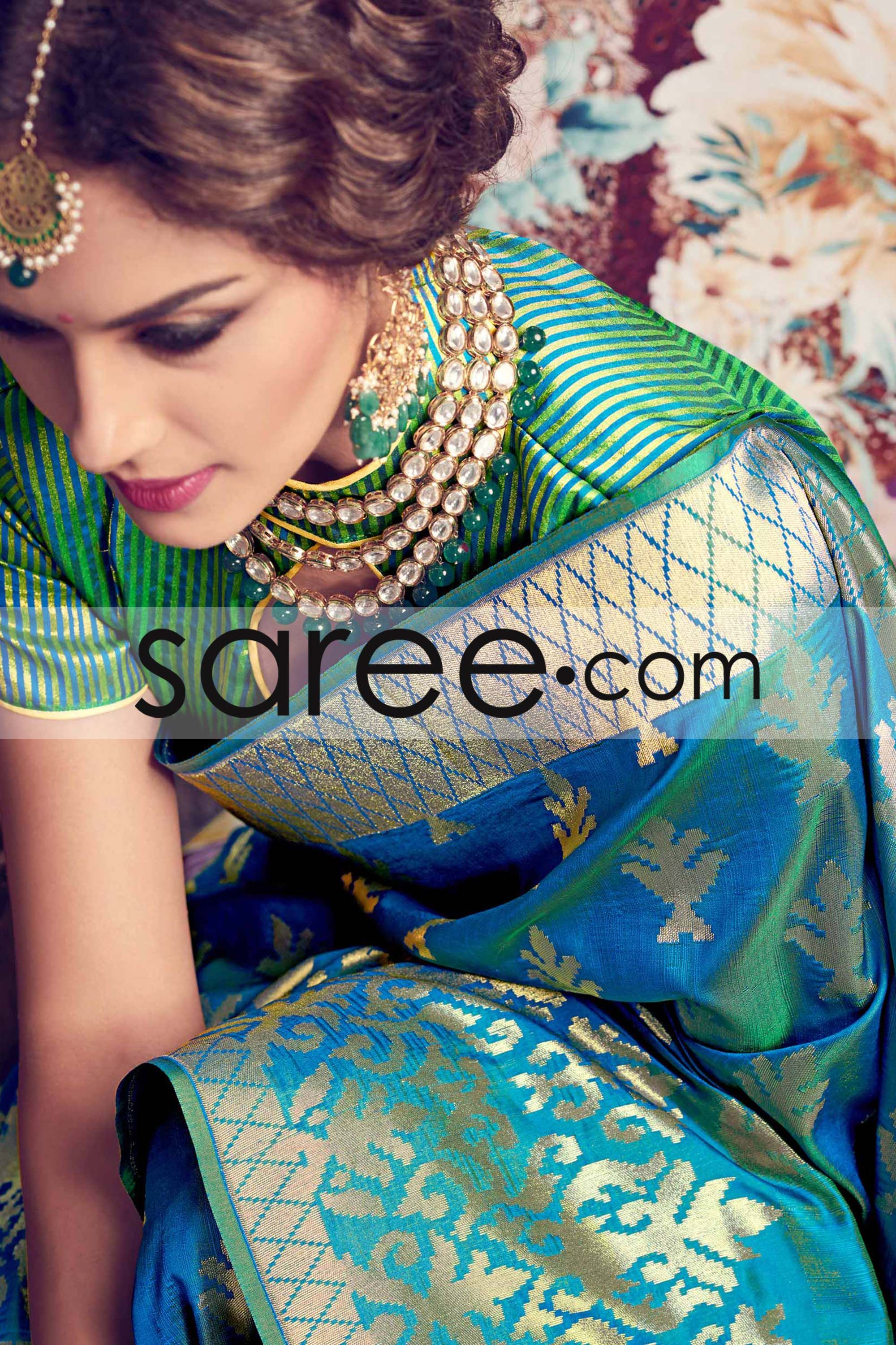 Cerulean Blue and Green Silk Saree With Weaving