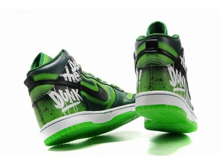Do the Dew Nike Dunks High Tops Green Custom Shoes $82.00