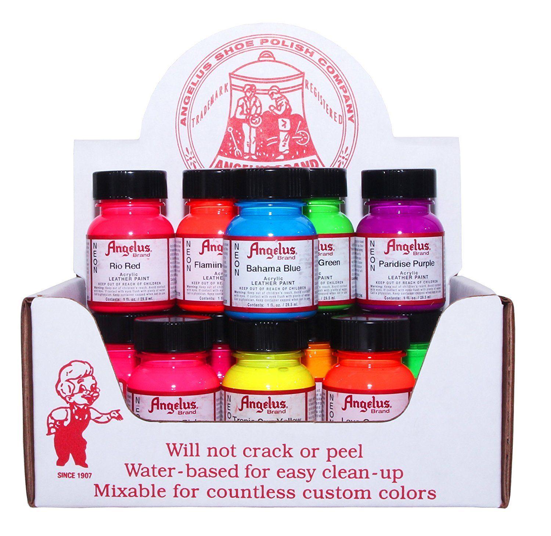 Angelus neon acrylic leather paint starter kit 1 ounce