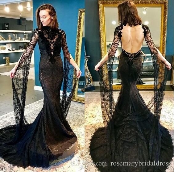 Long Sleeve See Through Mermaid Wedding Dresses Black Backless Lace Amazing Special Occasi Wedding Dress Makers Cheap Bridal Dresses Cheap Lace Wedding Dresses