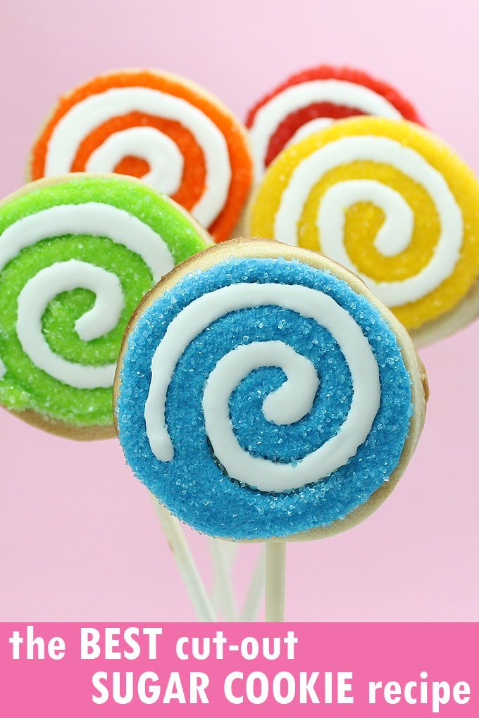 THE BEST CUT-OUT SUGAR COOKIE RECIPE for cookie decorating. No-spread, easy, perfect every time. Make your own sprinkle lollipop cookie pops. #cookiedecorating #bestsugarcookierecipe #sugarcookies #sugarcookierecipe #cutoutcookies