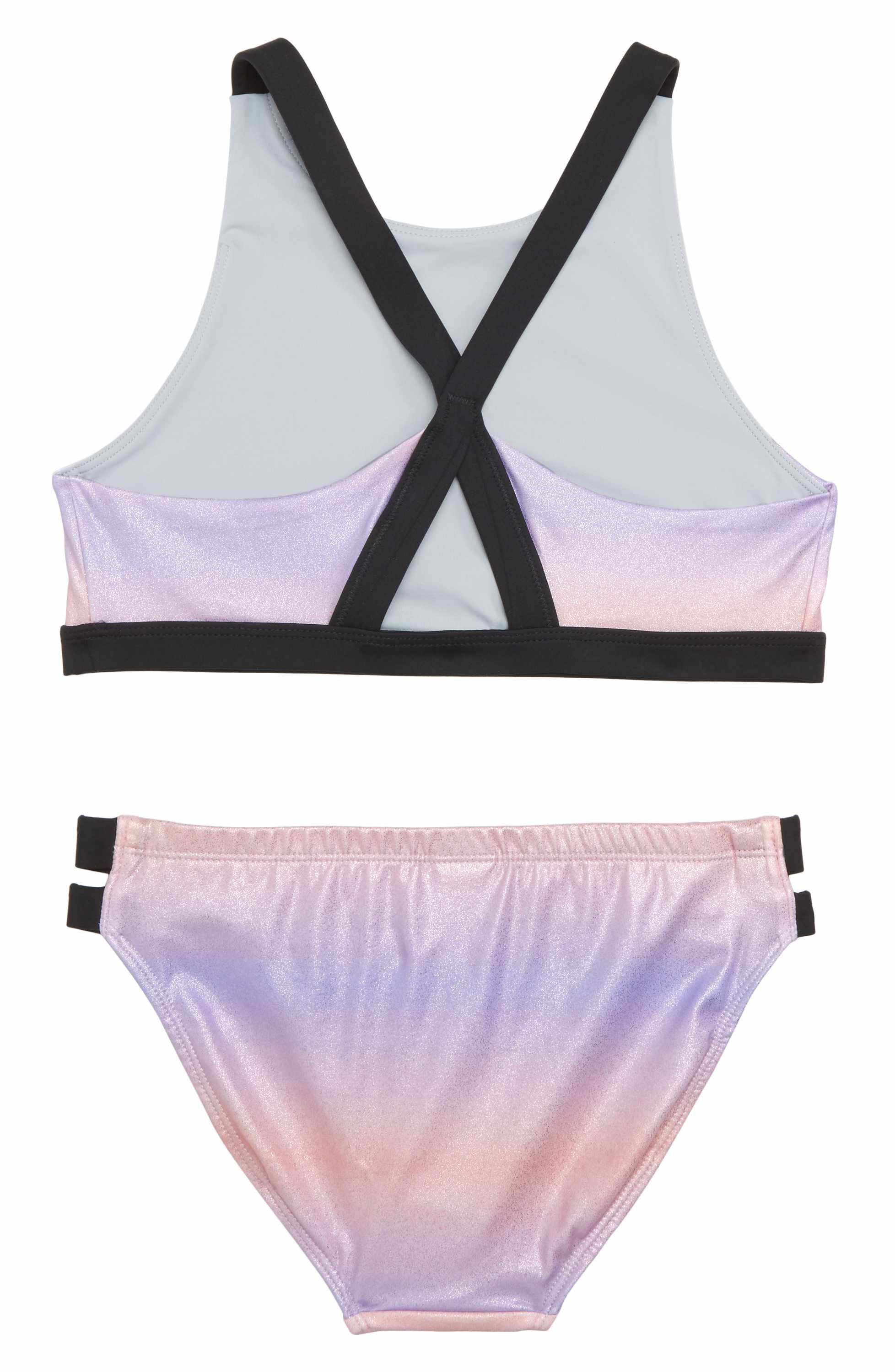 58f8bfb77adc0 Main Image - Zella Girl Strappy Sparkle Two-Piece Swimsuit (Big Girls)