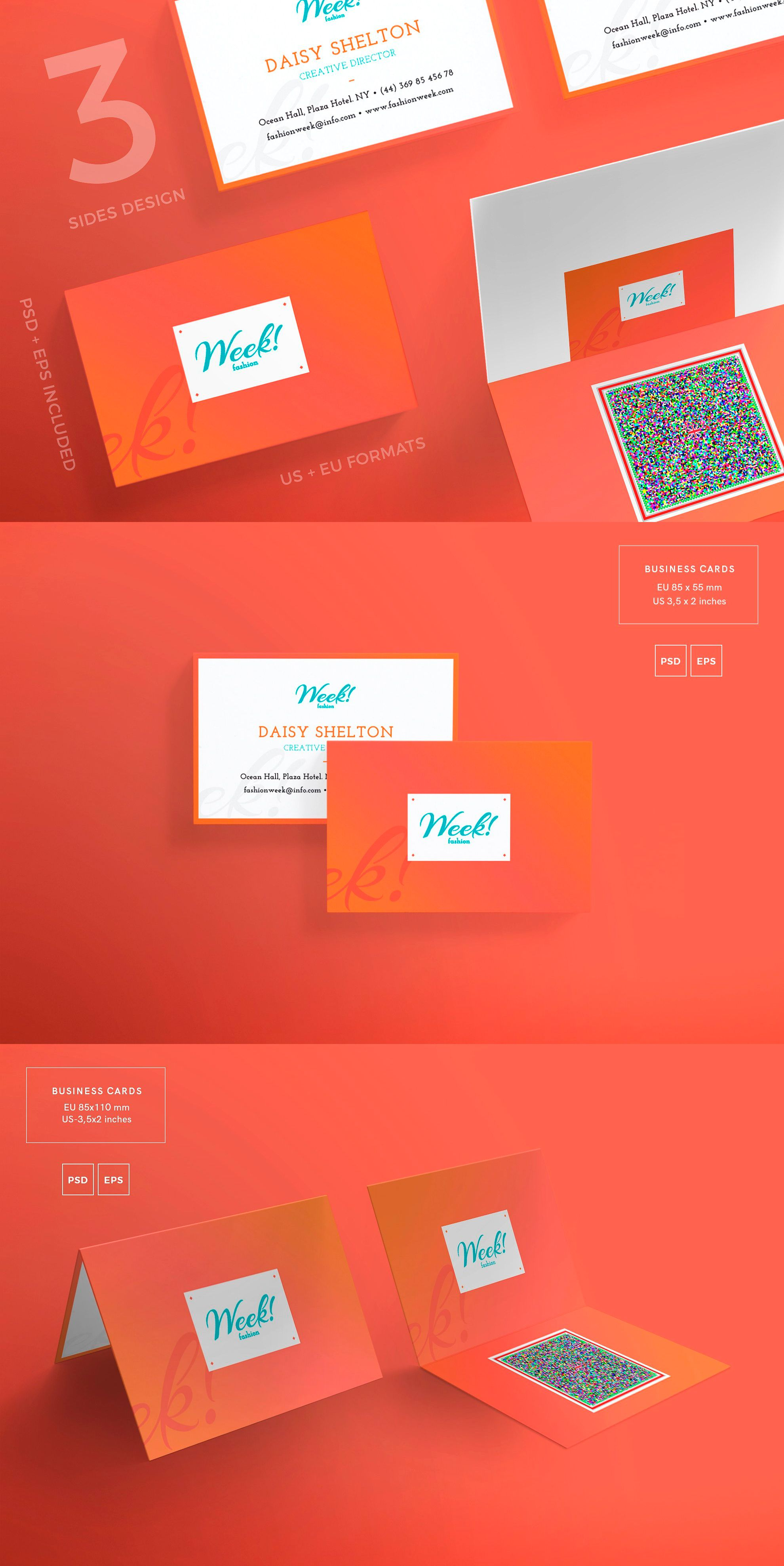 Business Cards Template Fashion Week Psd Pdf Eps Business Card