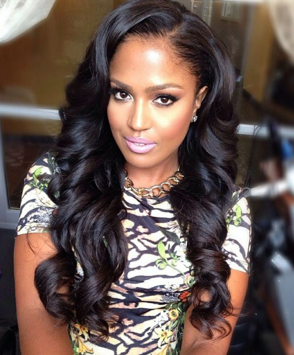 Long Weave Hairstyles With Side Bangs And Swept