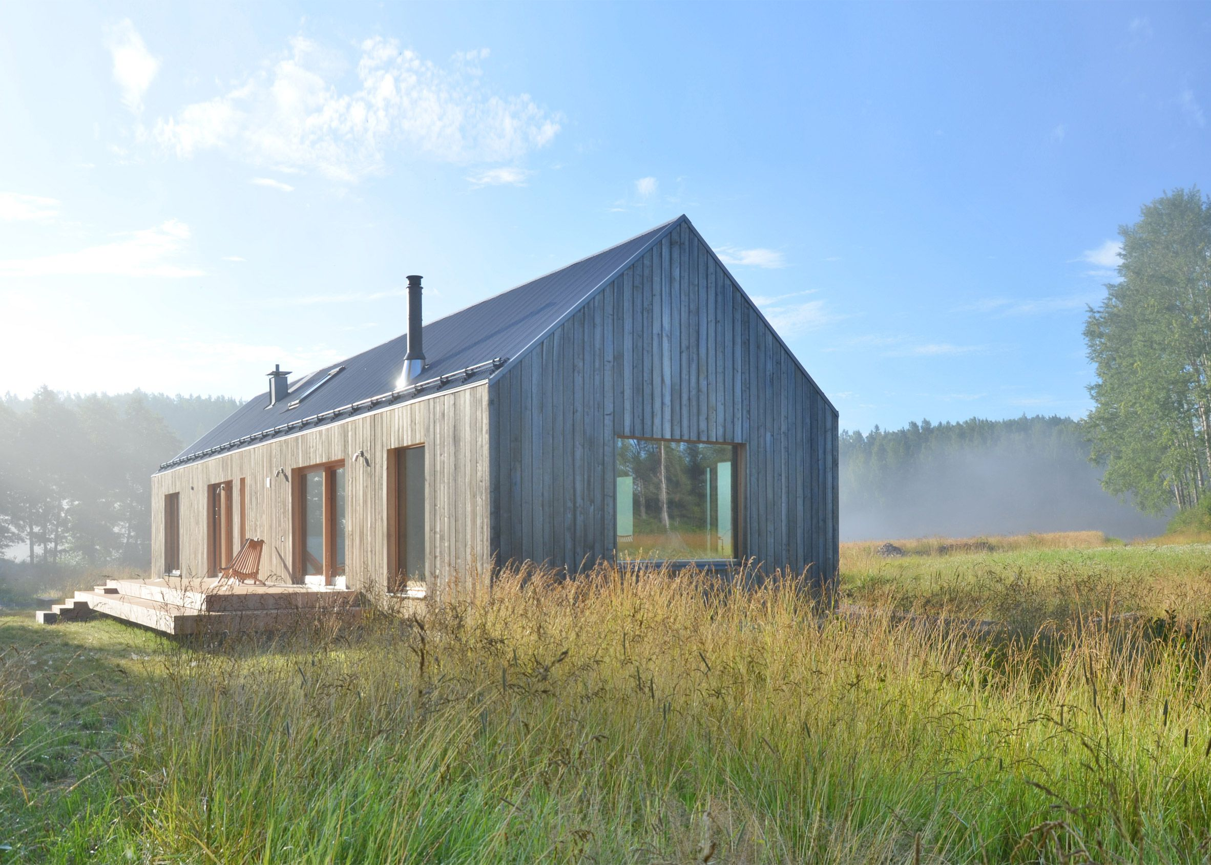 Kleines haus außendesign mny arkitekter uses seven types of timber for finnish lake house
