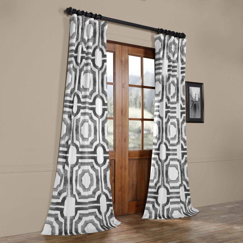 Donato Meca Geometric Printed Cotton Rod Pocket Single Curtain