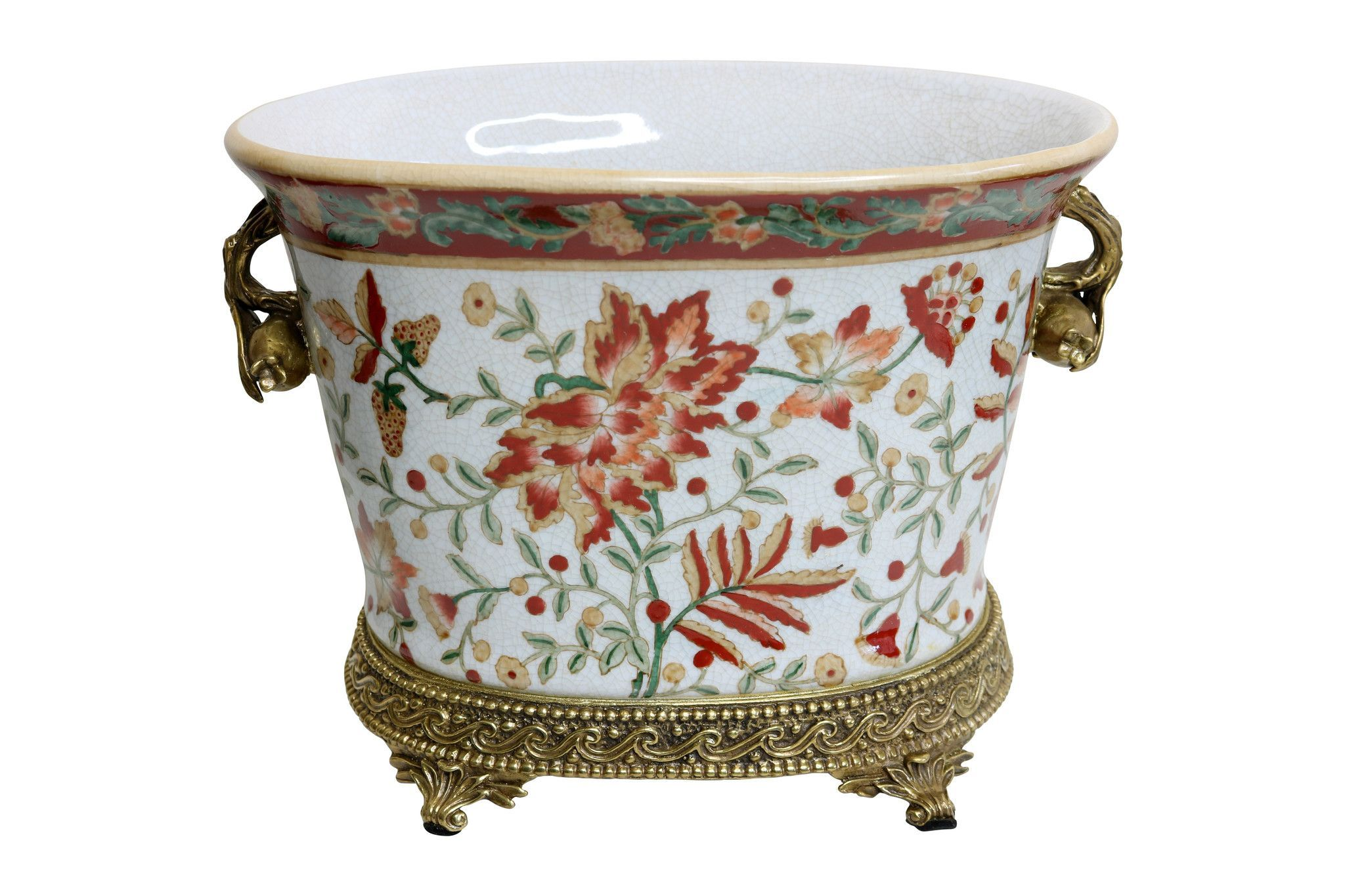 Oval Floral Pattern Chinoiserie Porcelain Oval Flower Pot Brass Ormolu Accent