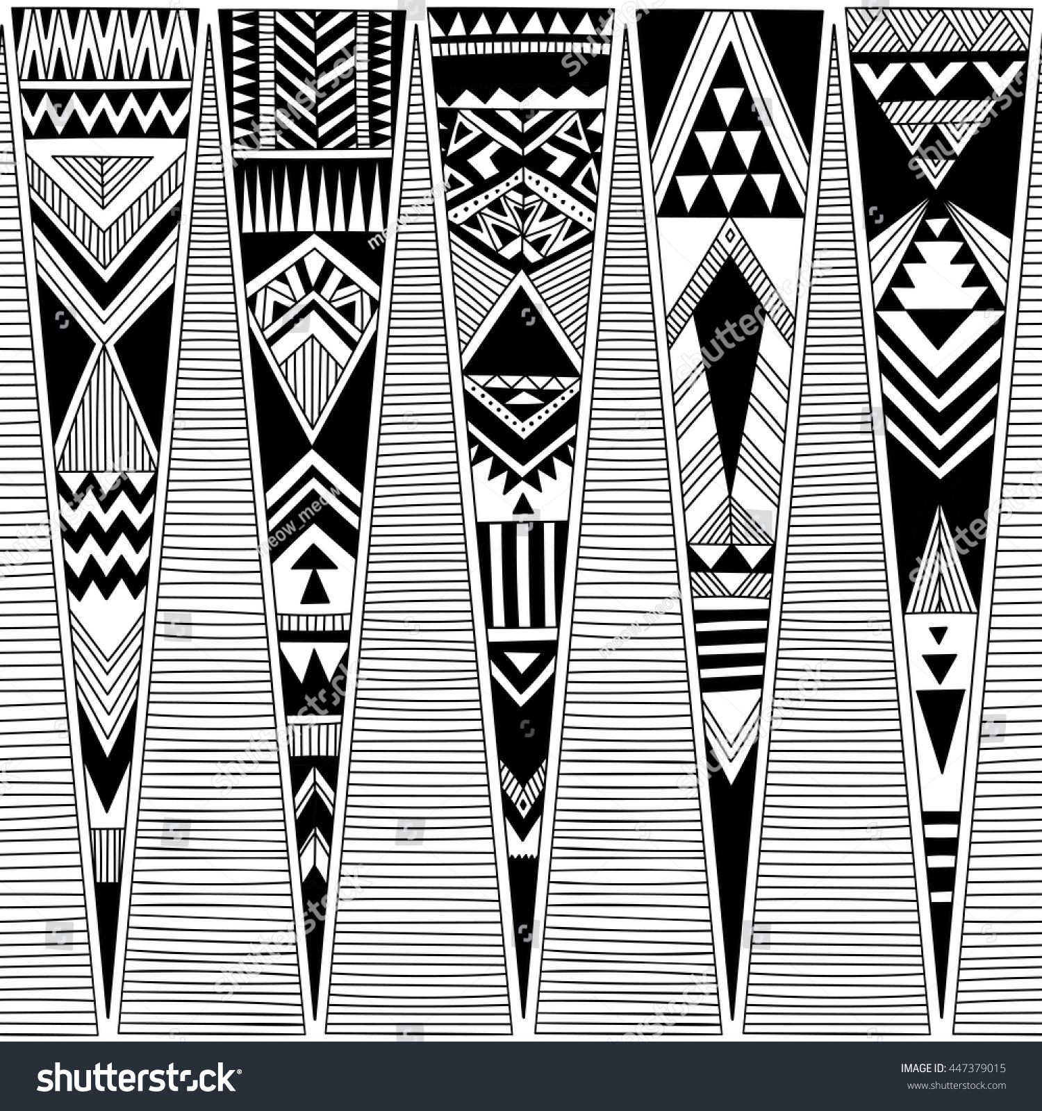 Black And White Tribal Navajo Vector Seamless Pattern With Doodle Triangles Aztec Abstract Geometric Art Print Ethnic Hipster Background