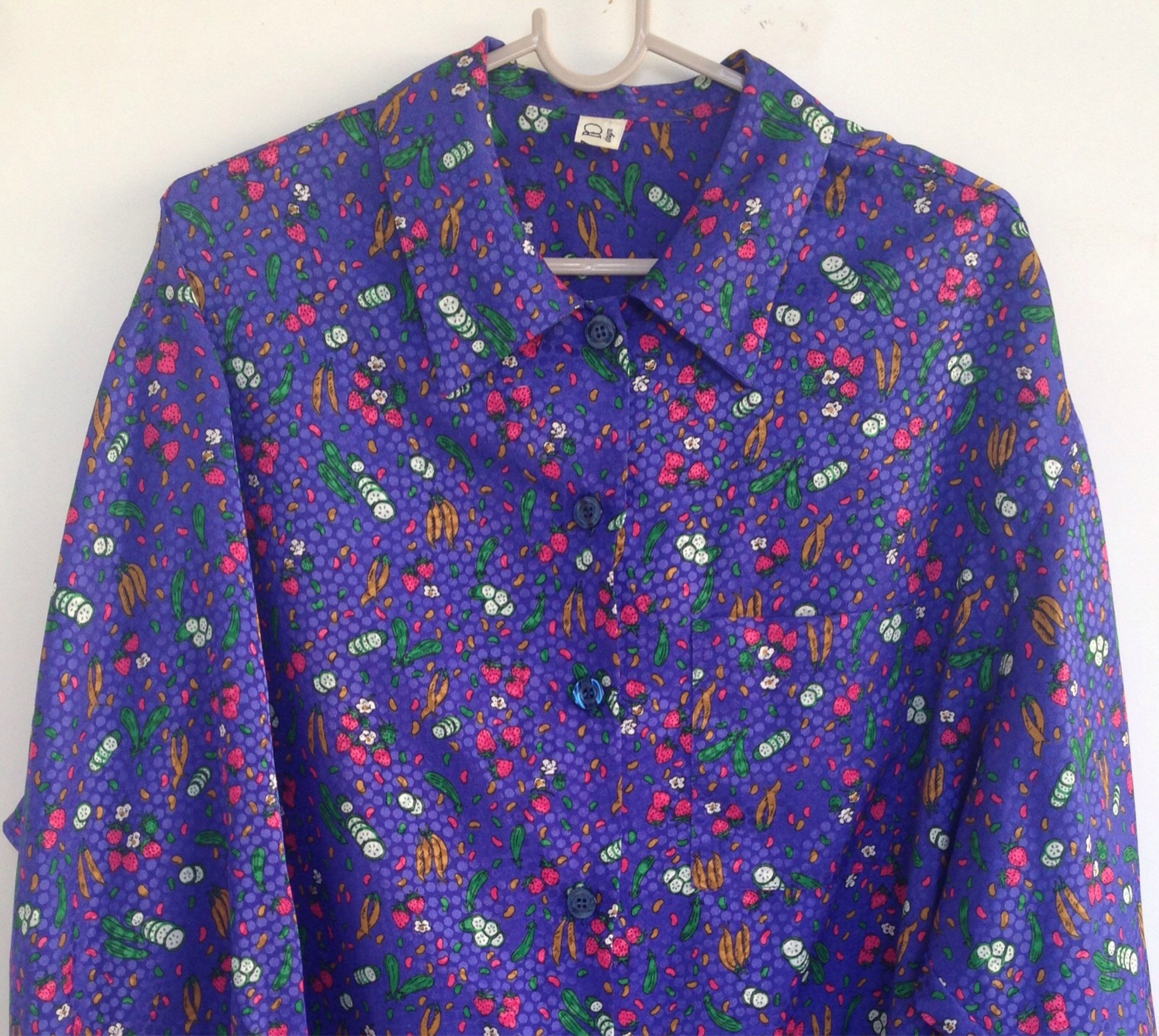 Satin Rare Billy Bo Deep Purple Shirt An 80s Vntg Authentic Collectable Billy Bo Garment That Features Strawberries Beans Cucumbers Satin Shirt Disco Shirt Greek Fashion
