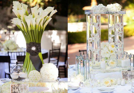 Centre de table blanc vert anis , centre de table mariage vert anis