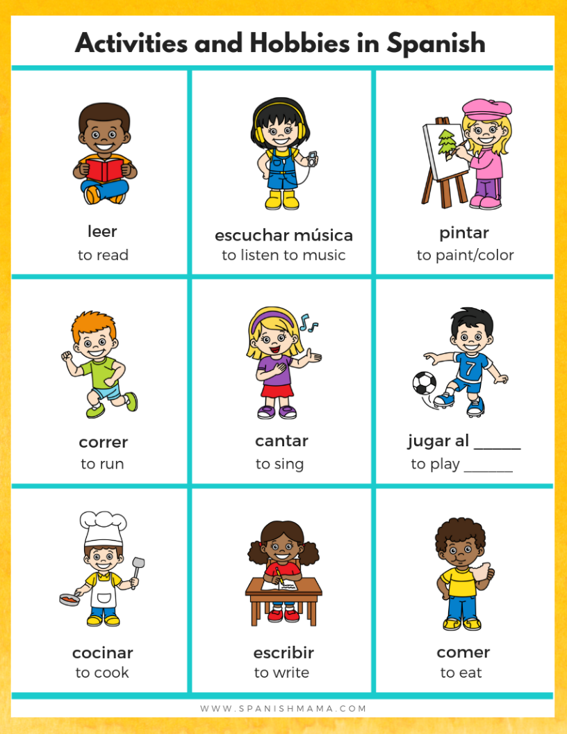 Grab This Free Spanish Hobbies Poster To Download And Use How You Like For Teaching Thi Spanish Learning Activities Learning Spanish For Kids Learning Spanish