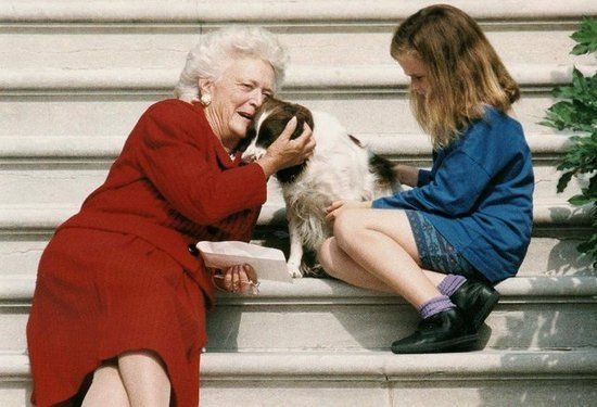 First Lady Barbara Bush and a Future First Daughter, 1991 First Lady Barbara Bush sat on the White House steps with her namesake granddaughter and