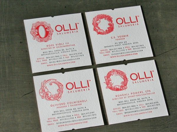 Olli salumeria business cards design by yael miller from miller olli salumeria business cards design by yael miller from miller creative letterpress printed by studio on fire business card design reheart Choice Image