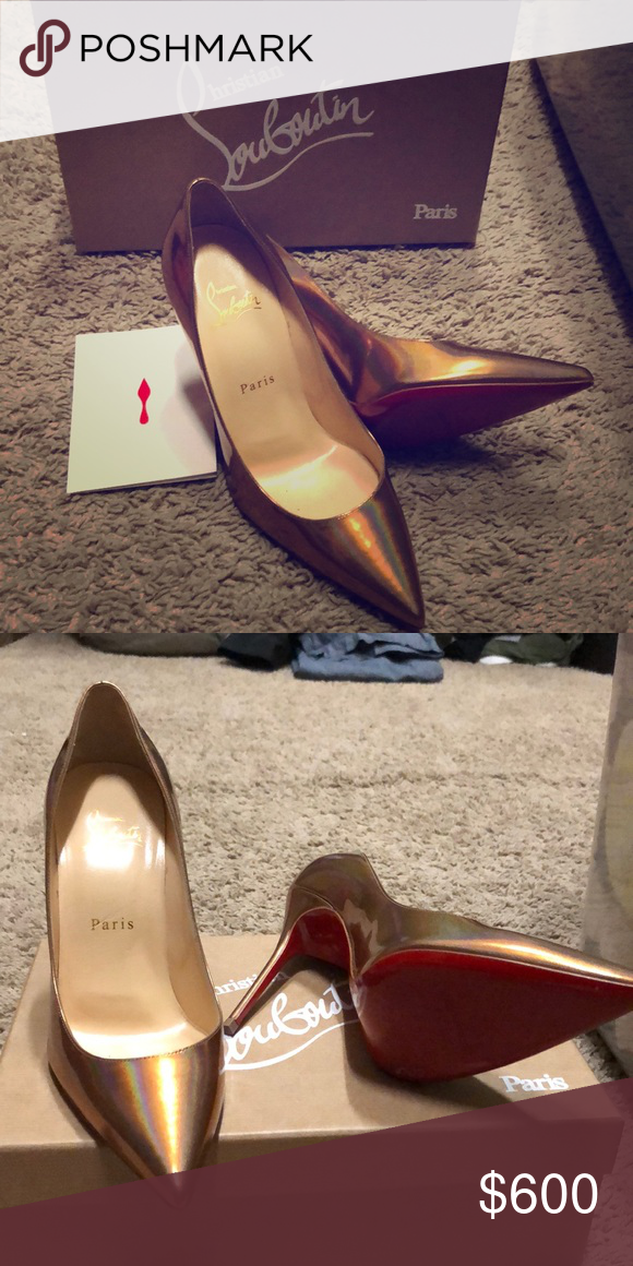 bbe6b4a4e68 Christian Louboutin Heels CHRISTIAN LOUBOUTIN Pigalle Follies 100  Cappuccino Metal Patent Pump Heel. THEY HAVE ONLY BEEN WORN ONE TIME. Christian  Louboutin ...