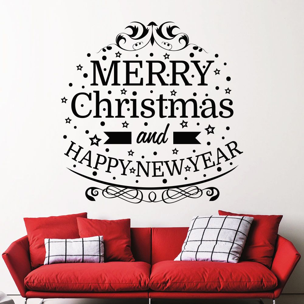 Window decor stickers  merry christmas removable home vinyl window wall stickers decal art