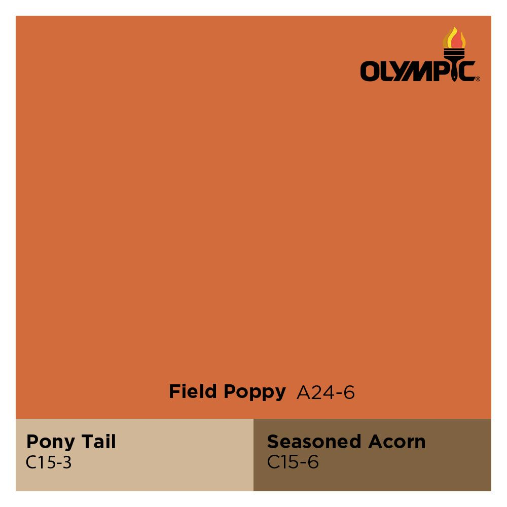 Field Poppy Orange Pairs Well With Complementary Colors Pony Tail Beige Seasoned Acorn Brown