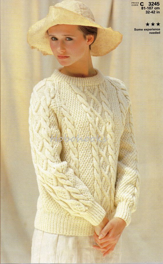 Ladies Knitting Pattern Ladies Aran Sweater Crew Neck Aran Cable