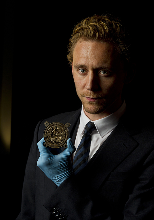 Tom Hiddleston at the Shakespeare exhibition at the British Museum holding the original 600-year-old Henry V seal (2012)