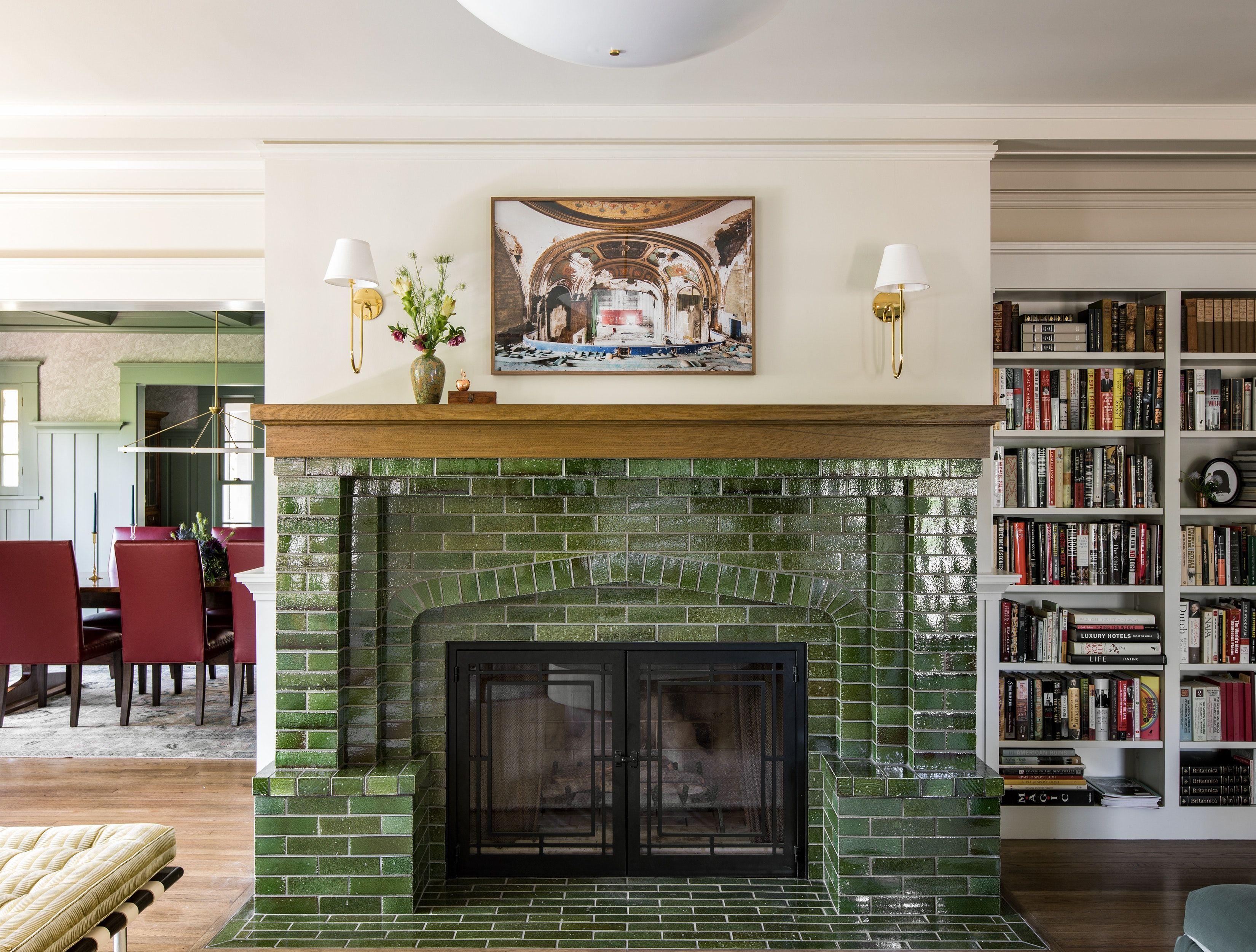 Green Tile Fireplace In Living Room Of Santa Monica Historic