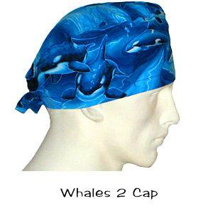 Killer Whale Print Large Medical Bouffant OR Scrub Cap Surgery Hat