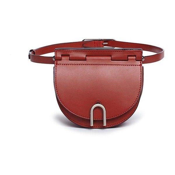 3.1 Phillip Lim 'Hana Belt' leather saddle bag (1.925 BRL) ❤ liked on Polyvore featuring bags, handbags, shoulder bags, red, leather belt bag, leather waist bag, red leather purse, leather fanny pack and red fanny pack