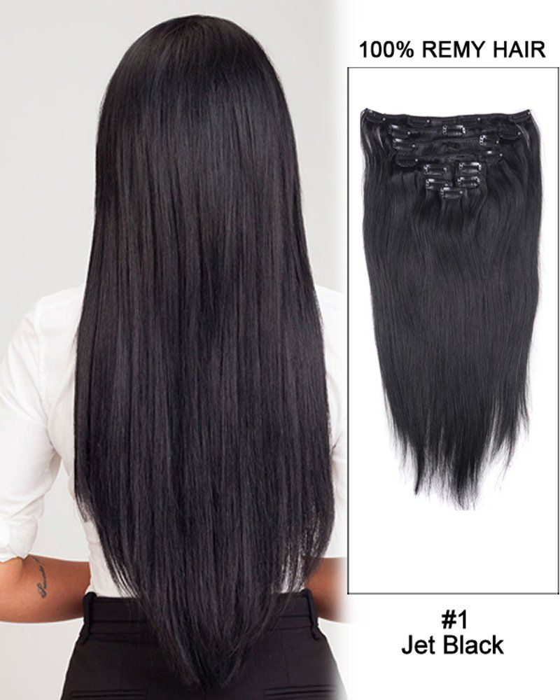 Straight Clip In Hair Extensions 9 Pieces 16 Jet Black Human Hair