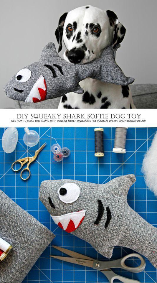 Diy Stuffed Squeaky Softie Shark Dog Toy Diy Dog Toys Dog Toys