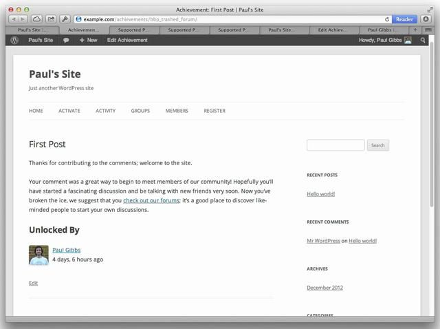 Achievements gamifies your WordPress/BuddyPress/bbPress site with challenges, badges, and points. This is an intro video for Achievements 3.0; check out http://achievementsapp.com and the WordPress plugin repository http://wordpress.org/extend/plugins/achievements/